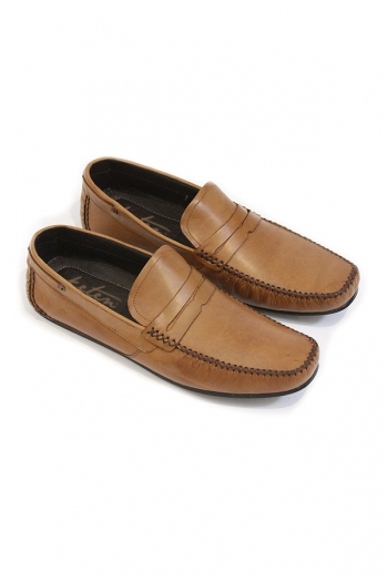 Handmade Leather Penny Loafers, Tan SHOES
