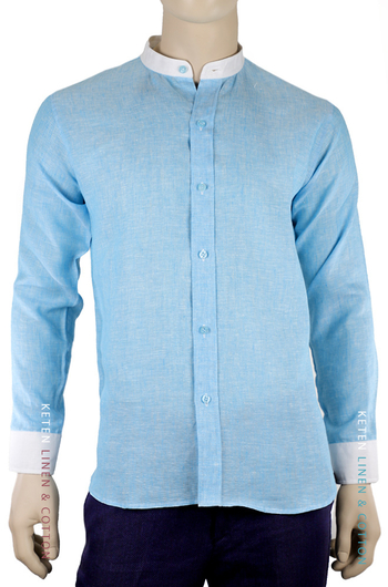 100% Linen Blue Color Shirt Mao Collar SHIRTS