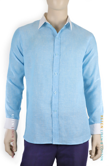 100% Linen Blue Color Shirt SHIRTS