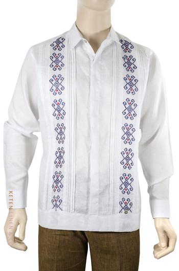 Hand Embroidered White Italian Linen Guayabera GUAYABERAS