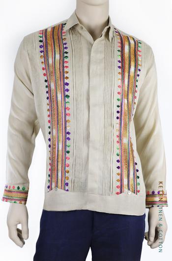 Handmade Beige Guayabera Linen With Hand Embroidered GUAYABERAS