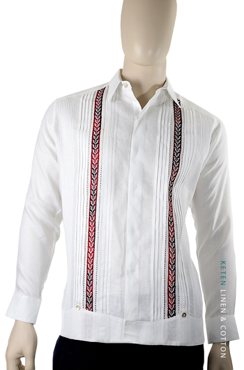 Linen Guayabera With Hand Embroidery in Red Color GUAYABERAS