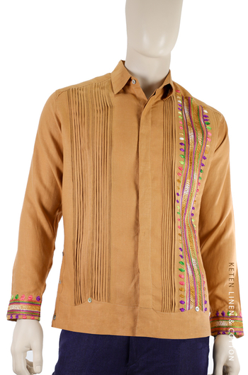 Handmade Orange Guayabera Linen With Hand Embroidered GUAYABERAS