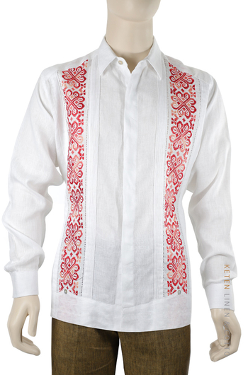 Exclusive Linen Guayabera with Hand Embroidery Cross Stitch GUAYABERAS
