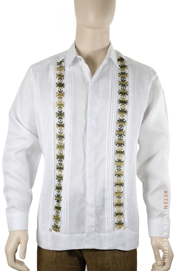 Pattern Embroidered White Irish Linen Guayabera GUAYABERAS