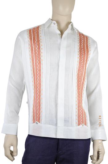 Italian Linen Hand Embroidered Guayabera Shirt GUAYABERAS