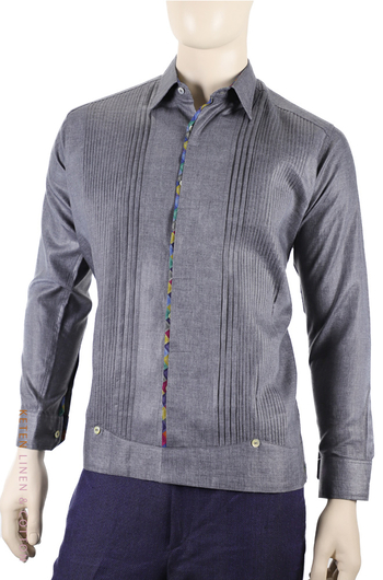 Handmade Gray Guayabera Linen with Color Combination GUAYABERAS