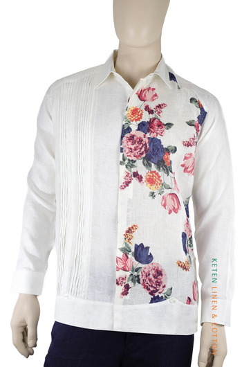 Hand Made Linen Flower Printed Guayabera Cuban Shirt GUAYABERAS