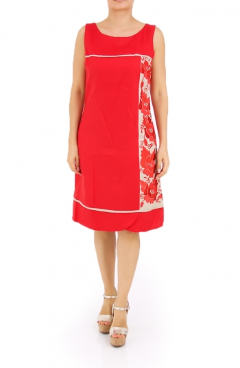 Beautiful Linen Red Dress With Details In Sand Color DRESSES