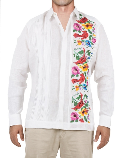 Hand Made Mexican Guayabera with Cross Stitch Embroidery GUAYABERAS