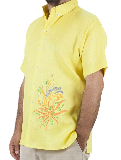 Yellow High Quality Pure Linen Shirt With Short Sleeves SHIRTS