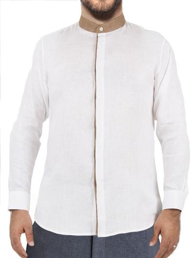 Camisa Con Cuello Mao de Lino Color Blanco CAMISAS