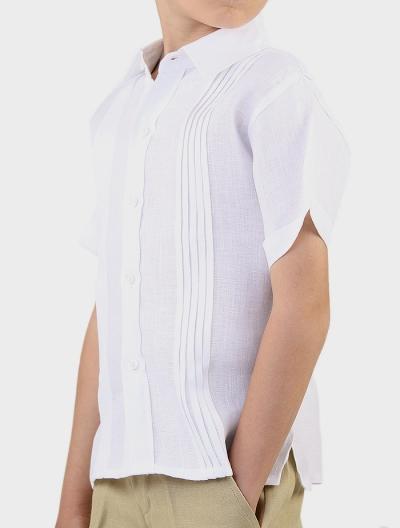 Camisa de Lino 100% Alforzas Para Niños Color Blanco CAMISAS