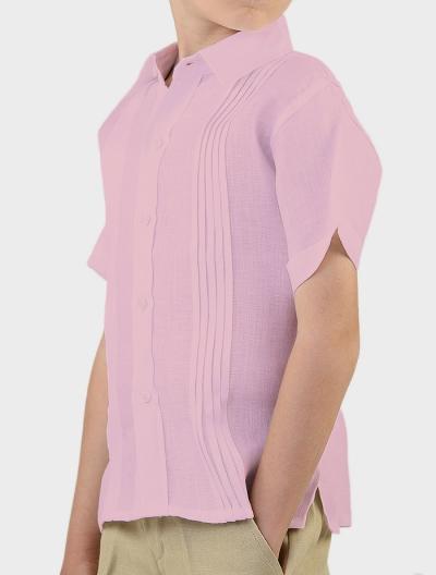 Camisa Manga Corta Para Niños Color Rosa CAMISAS