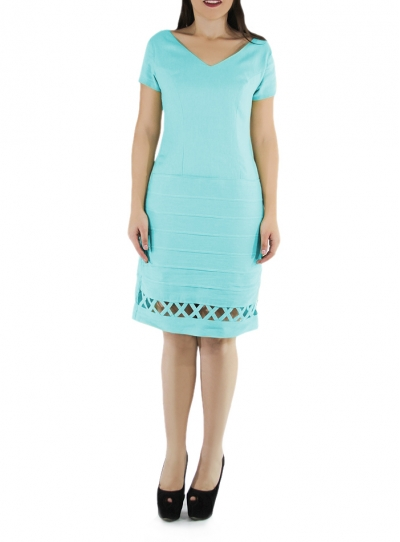 Princess Seamed Aqua Blue Color Linen Dress DRESSES