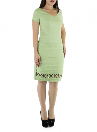 Princess Seamed Mojito Color Linen Dress DRESSES