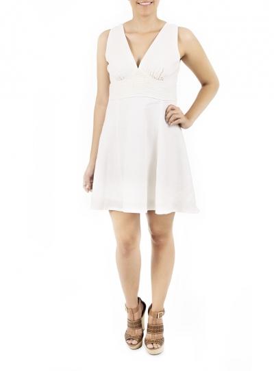 Vestido Corto con Pliegues Color Blanco VESTIDOS