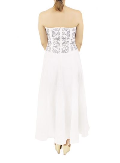 White Long Dress With Artisan Made Embroidery On The Corset WOMEN
