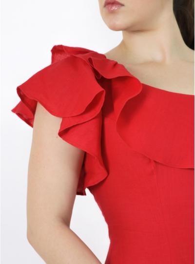 Vestido Rojo Largo 100% de Lino VESTIDOS
