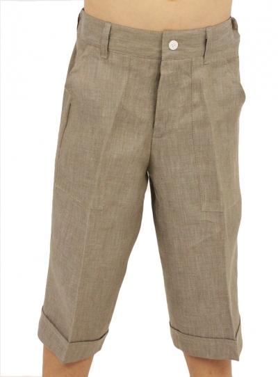 Long Gray 100 % Linen Bermuda Short BOYS & GIRLS