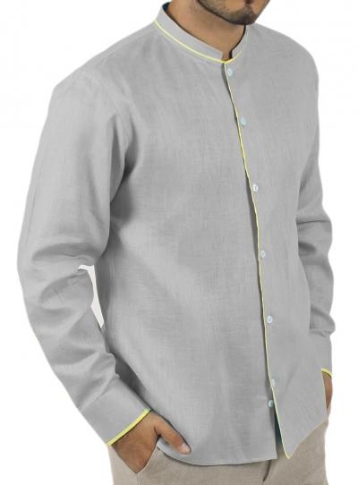 Camisa de Lino Color Gris con Detalles en Amarillo CAMISAS