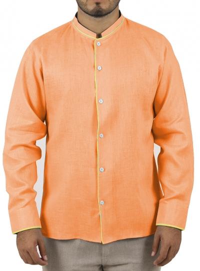 Camisa Color Naranja con Detalles en Amarillo CAMISAS