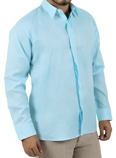 Casual Aqua Shirt 100% Linen SHIRTS