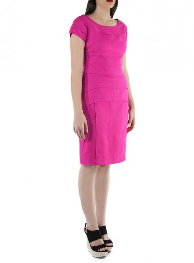 Fucsia Color Flounced 100% Linen Short Dress DRESSES