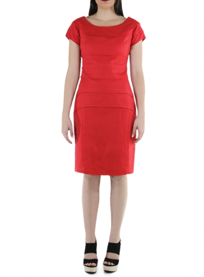 Vestido Corto de Lino 100% Color Rojo VESTIDOS