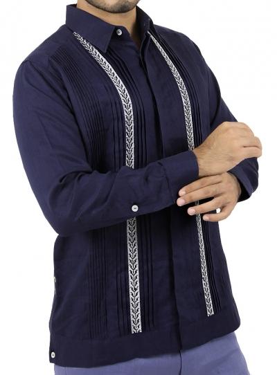 Pattern Embroidered Blue Irish Linen Guayabera Shirt GUAYABERAS