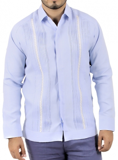 Blue Linen Long Sleeve Guayabera GUAYABERAS