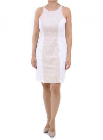Short Two Color Linen Dress DRESSES