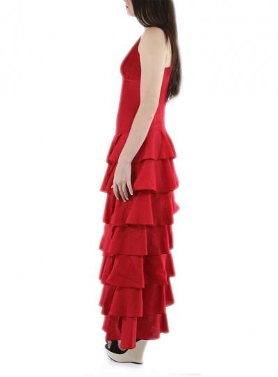 Flounce 100% Red Linen Formal Dress DRESSES