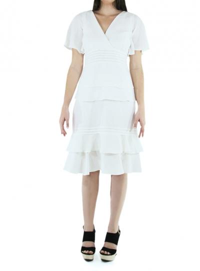 Pleated 100% Linen Midi Dress DRESSES