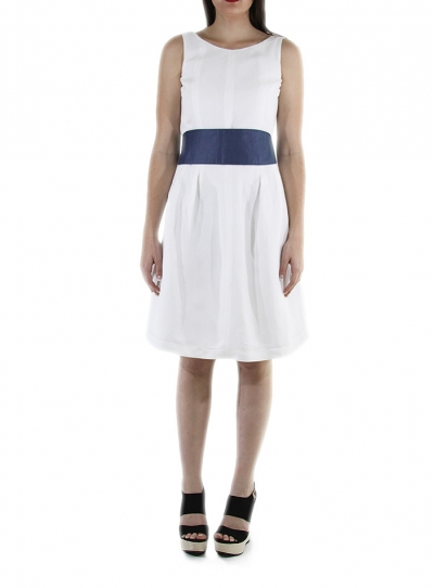 Belted Short White Linen Dress DRESSES