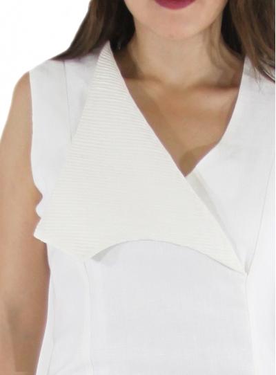 Sleeveless Open Collar Linen Short Dress DRESSES