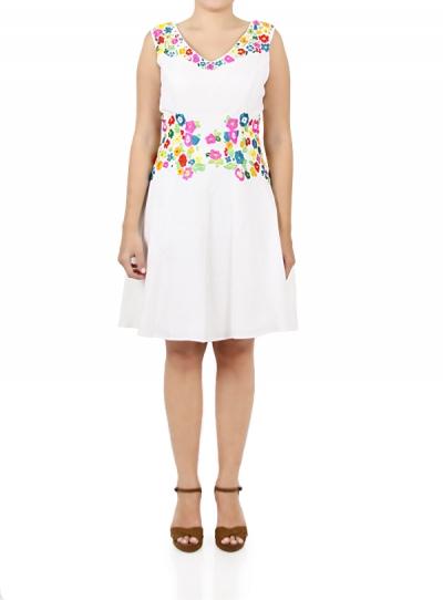 Vestido de Lino 100%  Color Blanco con Bordado de Flores MUJER