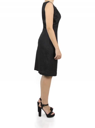 Black Short Linen Dress WOMEN