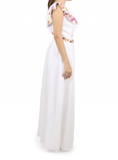 Long White Dress With Hand Embroidery WOMEN