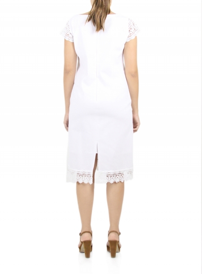 White Cotton Dress with Lace DRESSES