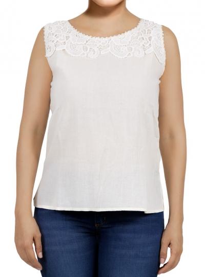 White Color Cotton Crochet Top TOPS