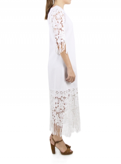 White Cotton Dress With Lace WOMEN