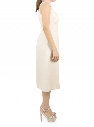 Short Beige Linen Dress with Embroidery DRESSES