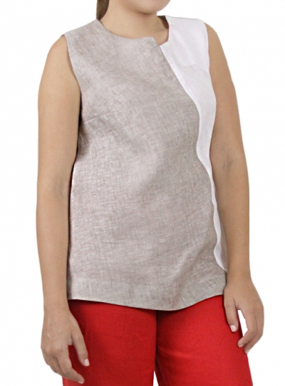 Blouse 100% Linen Beige Color With White TOPS