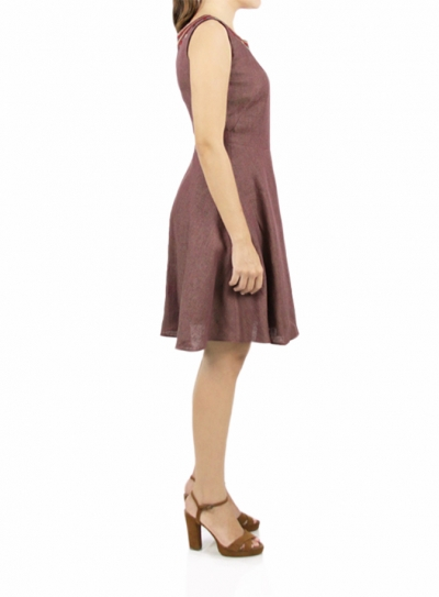 Short Brown Dress Embroidered Collar DRESSES