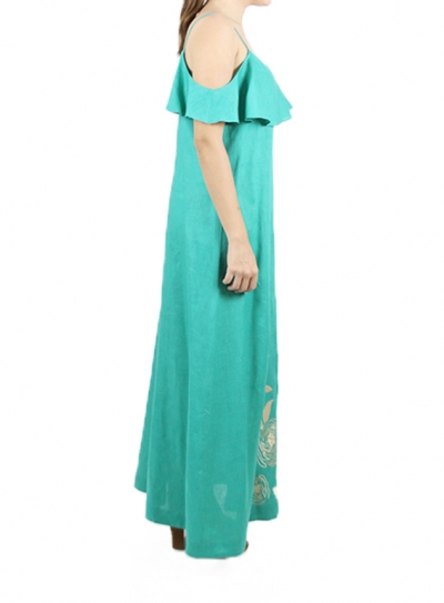 Vestido Largo Color Esmeralda con Bordado Caqui VESTIDOS