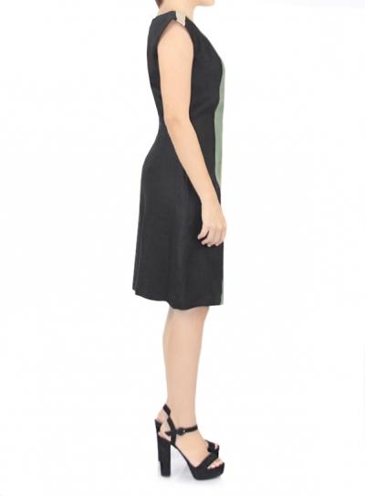 Black Linen Dress With Stripes DRESSES