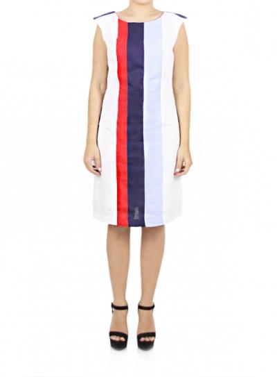 100% Linen Sailor Dress White Color Combined Colors DRESSES