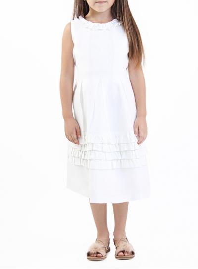 Vestido 100% de Lino color blanco NIÑOS & NIÑAS