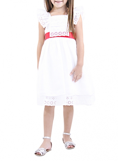 100% linen dress with white embroidery BOYS & GIRLS